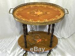 1 Antique French Louis Style Marquetry Oval Server Bar Champagne Drinks Trolley