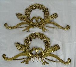 13 Antique French Gilded Bronze Furniture Pediment Decoration Louis XVI Style