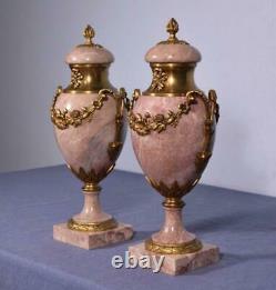 18 XXL Pair of Antique French Louis XVI Bronze & Marble Urns/Vases