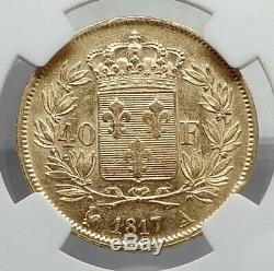 1817 FRANCE King Louis XVIII Large 40 Francs Antique French GOLD Coin NGC i80920