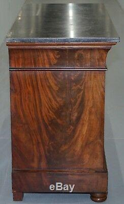 1850 French Louis Philippe Flamed Mahogany Chest Of Drawers Commode Marble Top