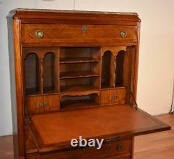 1880s Antique French Louis XVI Walnut inlaid & marble top Secretary desk
