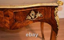 1890s Antique French Louis XV Burl Walnut & Leather Top Writing desk office Desk