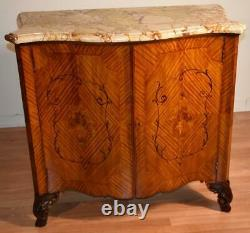 1890s Antique French Louis XV Satinwood inlaid & marble top Bar liquor cabinet