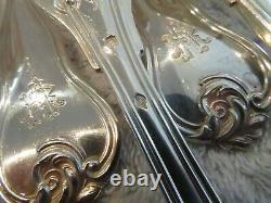 1900 French sterling silver 12 dinner forks Louis XV st foliages Henin
