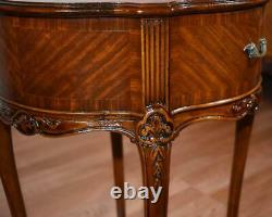 1910s Antique French Louis XV Satinwood floral inlay side tables / End tables