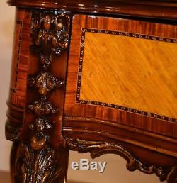1910s Antique French Louis XV Walnut & Satinwood inlaid Vanity Desk Ladies Desk