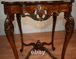 1910s Antique French Louis XV Walnut & Satinwood inlay round center table