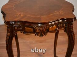 1910s Antique French Louis XV Walnut & Satinwood inlay side table End table