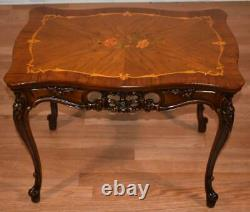 1910s Antique French Louis XV Walnut & Satinwood inlay small Coffee table