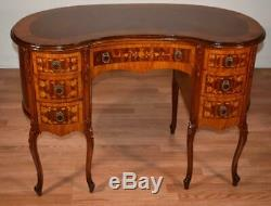1910s Antique French Louis XV Walnut Satinwood marquetry inlaid Ladys vanity