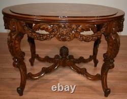 1910s Antique French Louis XV carved Walnut & inlay Coffee table with Glass Tray