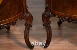 1910s Antique French Louis XV dark Burl Walnut inlaid Nightstands bedside tables
