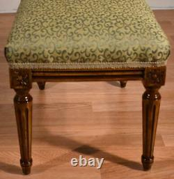 1910s Antique French Louis XVI Walnut Ottoman Footstool / New Upholstery