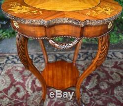 1910s Antique Pair of French Louis XV Walnut & Satinwood inlay side End tables