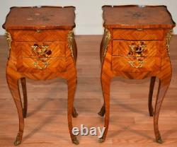 1920 Antique French Louis XV Walnut & Satinwood inlay Nightstands bedside tables