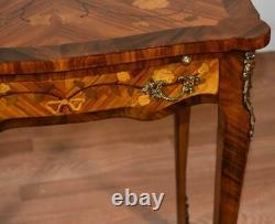 1920s Antique French Louis XV Walnut & Satinwood Inlay side table Pull-out tray