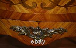 1920s Antique French Louis XV Walnut & Satinwood floral inlaid Commode / dresser
