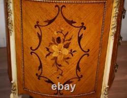 1920s Milano Furniture CO. French Louis XV Walnut inlaid marble top nightstands