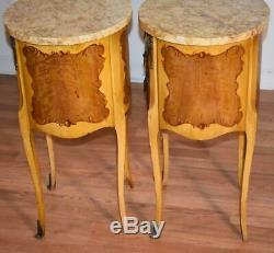 1930s French Louis XV Mahogany hand painted marble top nightstands bedside table