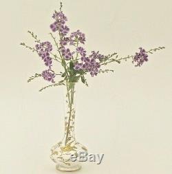 19C Antique French Saint Louis Glass Bud Vase Gold Enamel Miniature Flower Bird