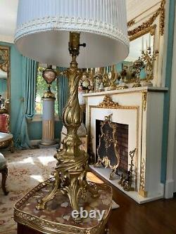 19th C. French Louis XV Style Gilt Bronze Candelabra Table Lamp