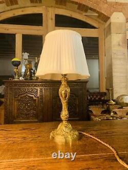 19th C Ormolu Bronze Louis XVI Table Lamp, French Empire Rococo Antique