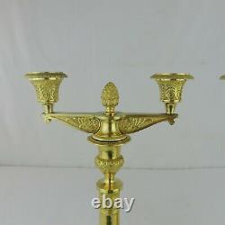 19th Century French Gilt Bronze Candlesticks Candelabra Empire Louis Philippe