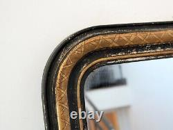 19th Century French Louis Philippe Ebonised & Gilt Wall Mirror