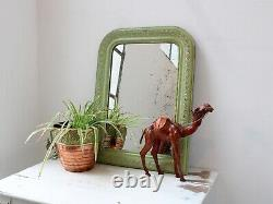 19th Century French Louis Philippe Green-Painted Wall Mirror