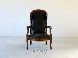19th Century French Louis Philippe Leather & Walnut Open Armchair
