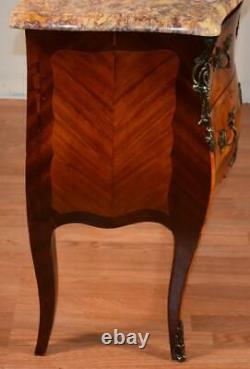 19th Century French Louis XV Walnut inlaid marble top nightstand bedside table