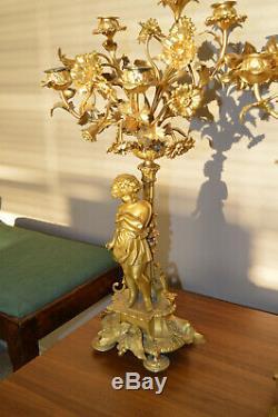 19th c. French Louis XVI style gilt bronze figural candelabra