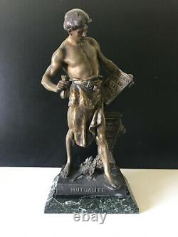 19th century EMILE LOUIS PICAULT Bronze spelter statue marble base