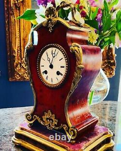 19thC French Rouge Lacquered 8 Day Twin Train Boulle Clock By Louis Japy (c1855)
