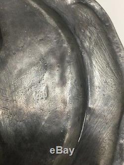 2 Antique 18th C. French Pewter Plates, King Louis XVI & Queen Marie Antoinette