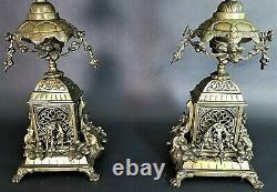 (2) Antique Italian Ornate Bronze French Louis XV Rococo 6 Point Candelabra