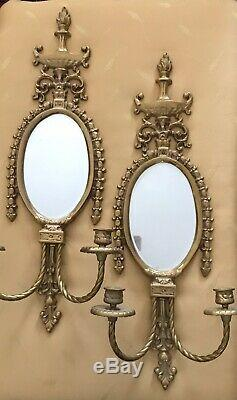 2 Antique LOUIS XVI French Cast Brass Urn Parlor Mirror Candle Wall Sconce