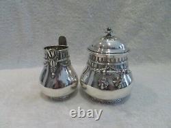 20th c french sterling silver sugar bowl & creamer for 2 Louis XVI st Tetard