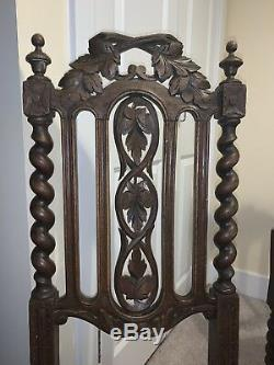 3 Dining Chairs French 19th Century Louis XIII Carved Oak Carolean Caned Seats