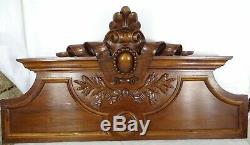 33French Antique Pediment Hand Carved Walnut Wood Crest Fronton Louis XVI Style
