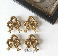4 Antique brass picture hook cover Ribbon bow French Louis XVI frame painting