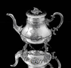 5pc FRENCH LOUIS XVI 950 STERLING SILVER TEA SET + TRAY BY PARENT, 1850-1899