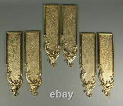 6 Antique Style LOUIS XV French Gold Brass Metal Door Finger Push Plates 3 Pairs