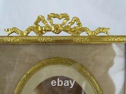 7.5 Antique French Gilt Bronze Picture Frame Louis XVI Ribbon