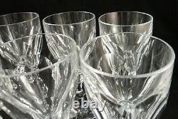 8 Vintage St. Louis Cut Crystal Stem Red Wine Goblets, Chambord Pattern. 6 5/8