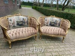 A pair of two French Louis XVI Style Corbeille Sofa/ Marquises/ Loveseats in tan