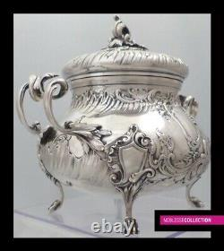 ANTIQUE 1880s FRENCH STERLING SILVER SUGAR BOWL Louis XV style Minerva 950/1000