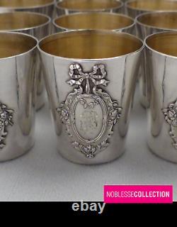 ANTIQUE 1900s FRENCH STERLING SILVER SHOT CUPS LIQUOR SET 12p LOUIS XVI ACANTHUS