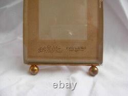 ANTIQUE FRENCH BRASS BEVELED GLASS PHOTO FRAME, LOUIS XVI STYLE, LATE 19th